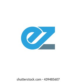 initial letter ez linked round lowercase logo blue