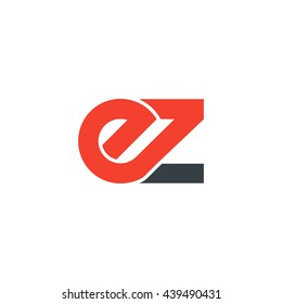 initial letter ez linked round lowercase logo red
