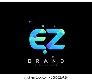 Initial letter EZ logo with colorful background, letter combination logo design for creative industry, web, business and company. - Vector