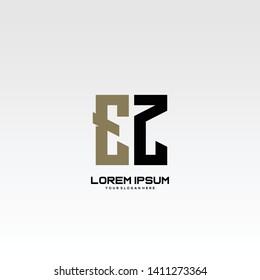 Initial letter EZ minimalist art logo vector