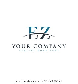 Initial letter EZ, overlapping movement swoosh horizon logo company design inspiration in blue and gray color vector