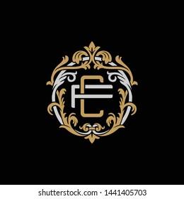 Initial letter F and C, FC, CF, decorative ornament emblem badge, overlapping monogram logo, elegant luxury silver gold color on black background