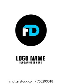 Initial letter F & D logo template vector