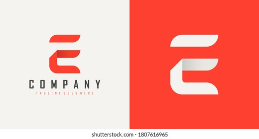 Initial Letter F and E Linked Logo. Red and White Geometric Shape Origami Style isolated on Double Background. Usable for Business and Branding Logos. Flat Vector Logo Design Template Element