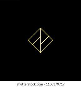 Initial letter F FF FM MF MM minimalist art monogram shape logo, gold color on black background