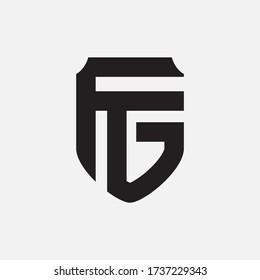Initial letter F, G, FG or GF overlapping, interlock, monogram logo, black color on white background