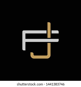 Initial letter F and J, FJ, JF, overlapping interlock logo, monogram line art style, silver gold on black background