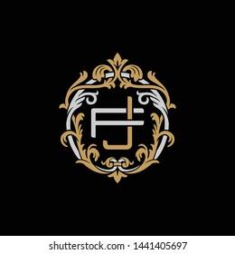 Initial letter F and J, FJ, JF, decorative ornament emblem badge, overlapping monogram logo, elegant luxury silver gold color on black background