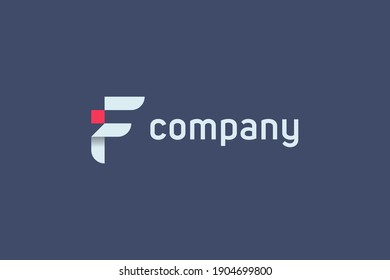 Initial Letter I and F Linked Logo. Red and White Geometric Shape Origami Style isolated on Blue Background. Usable for Business and Branding Logos. Flat Vector Logo Design Template Element.