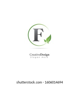 Initial Letter F Logo With Leaf Element. Design vector template