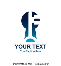 Initial letter F logo template colored blue key hole design for business and company identity