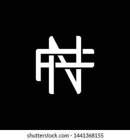 Initial letter F and N, FN, NF, overlapping interlock monogram logo, white color on black background