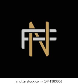 Initial letter F and N, FN, NF, overlapping interlock logo, monogram line art style, silver gold on black background