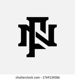 Initial letter F, N, FN or NF overlapping, interlock, monogram logo, black color on white background