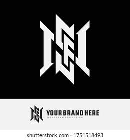 Initial letter F, N, S, FNS, FSN, NFS, NSF, SFN or SNF overlapping, interlock, monogram logo, white color on black background