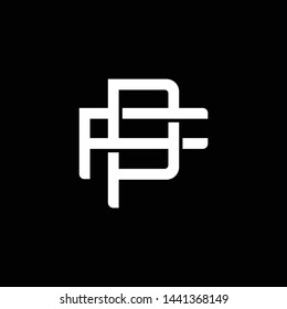 Initial letter F and P, FP, PF, overlapping interlock monogram logo, white color on black background