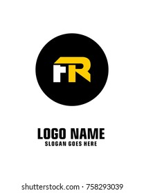 Initial letter F & R logo template vector