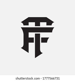 Initial letter F, T, FT or TF overlapping, interlock, monogram logo, black color on white background