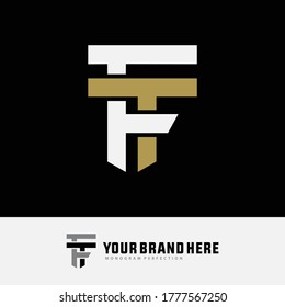 Initial letter F, T, FT or TF overlapping, interlock, monogram logo, white and gold color on black background