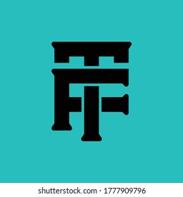 Initial letter F, T, FT or TF overlapping, interlock, monogram logo, black color on blue tosca background