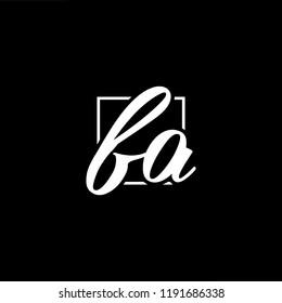 Initial letter FA AF minimalist art monogram shape logo, white color on black background