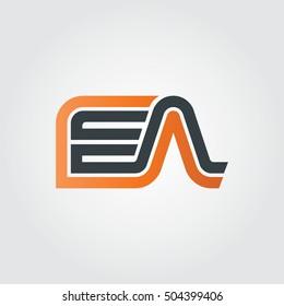 Initial Letter FA EA Linked Design Logo Orange Black