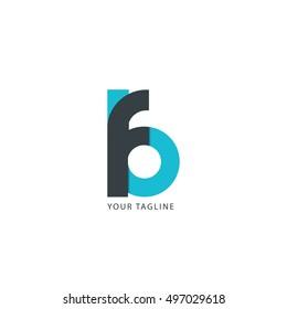 Initial Letter FB Linked Circle Lowercase Logo Black Blue