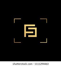 Initial letter FC CF minimalist art monogram shape logo, gold color on black background