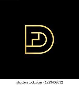 Initial letter FD DF minimalist art logo, gold color on black background.