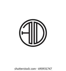 Initial letter FD, FO, minimalist line art monogram circle logo, black color