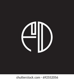 Initial letter FD, FO, minimalist line art monogram circle shape logo, white color on black background