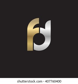 initial letter fd linked circle lowercase logo gold silver black background