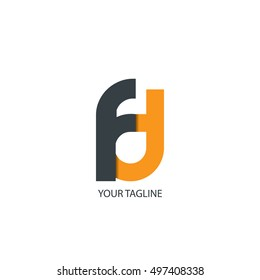 Initial Letter FD Linked Circle Lowercase Logo Black Orange