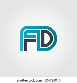 Initial Letter FD Linked Design Logo Blue Black
