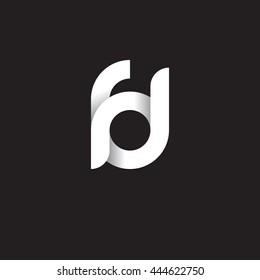 initial letter fd modern linked circle round lowercase logo white black