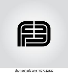 Initial Letter FE FB Linked Design Logo Black