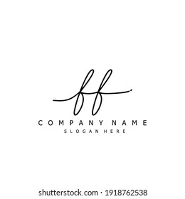Initial letter FF calligraphy handwritten logo. Handwritten alphabet in the logo template. Letters and Alphabet for your logo design.