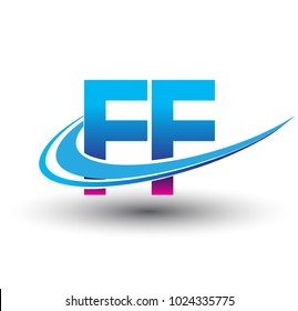 initial letter FF logotype company name colored blue and magenta swoosh design. vector logo for business and company identity.