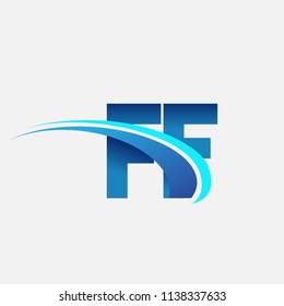 initial letter FF logotype company name colored blue and swoosh design. vector logo for business and company identity.