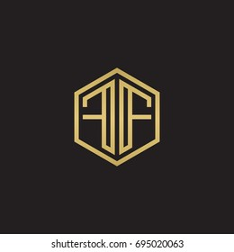 Initial letter FF mirror, minimalist line art hexagon logo, gold color on black background