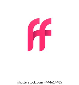 initial letter ff modern linked circle round lowercase logo pink