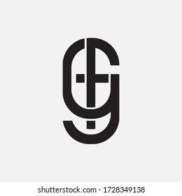 Initial letter FG and GF overlapping, interlock, monogram logo, black color on white background