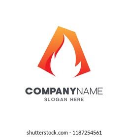 initial letter a with fire shape, logo design template