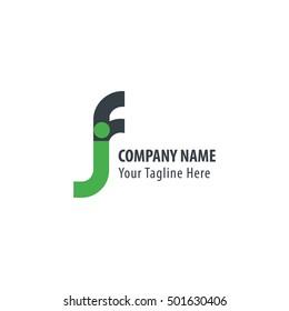 Initial Letter FJ Rounded Lowercase Logo Green Black
