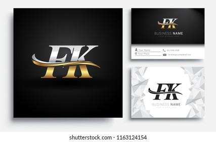 initial letter FK logotype company name colored gold and silver swoosh design. Vector sets for business identity on white background.