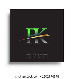 initial letter FK logotype company name colored green and gold swoosh design. vector logo for business and company