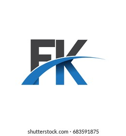 initial letter FK logotype company name colored blue and grey swoosh design. vector logo for business and company identity.
