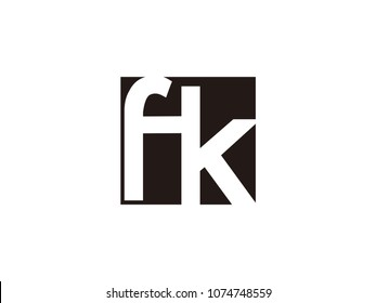 Initial letter fk lowercase logo black and white