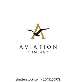 Initial Letter A Flying Bird Vector logo design