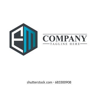 Initial Letter FM Hexagonal Design Logo